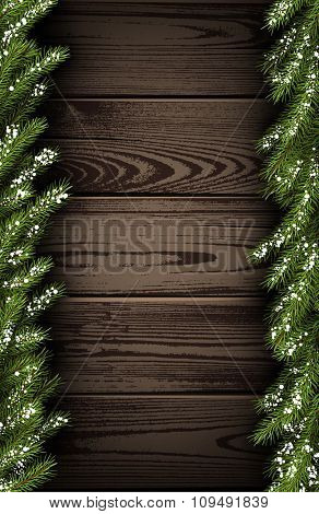 Wooden winter background with fir branches. Vector illustration.