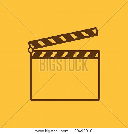 The clapper board icon. Clapper Board symbol. Flat