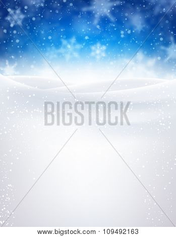 Blue winter background with snowflakes. Vector illustration.