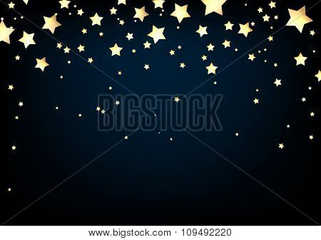 Blue background with stars. Vector paper illustration.