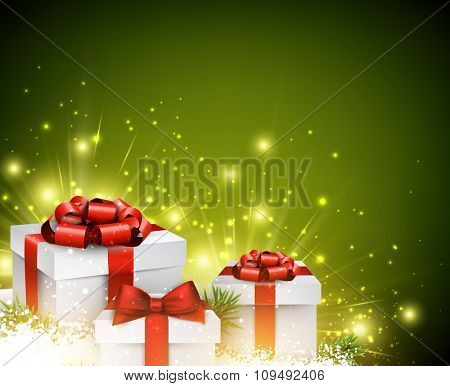 Christmas background with gifts. Vector paper Illustration.