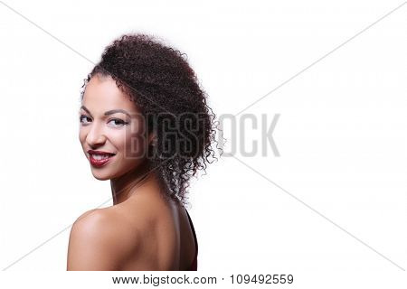 Beautiful woman on a white background