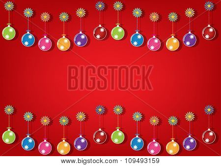 Christmas Multicolor Balls And Colorful Ornaments On Brigh Red Background. Vector Illustration Desig