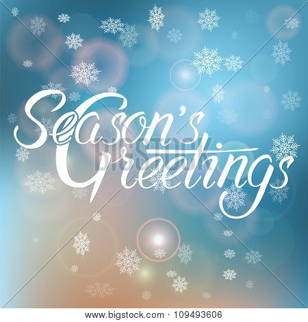 Season's Greetings Handwritten Text On Blurred Background.