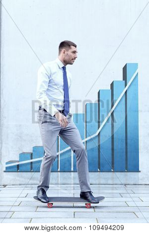 business, development, statistics and people and concept - young smiling businessman riding on skateboard outdoors over growth chart