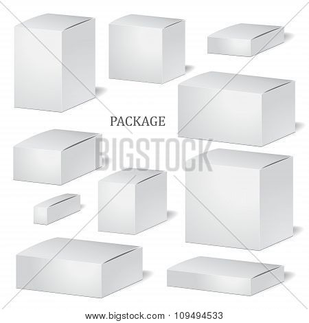 Set Of Cadrboard Package Isolated Box On The White Background. Mock Up, Template. Stock Vector