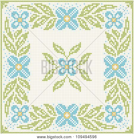 Cross-stitch Embroidery - Flowers And Leaves