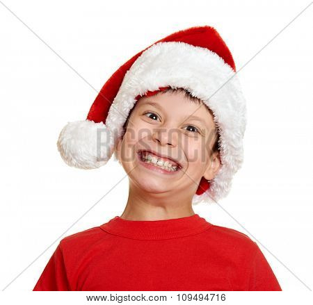 boy in santa helper hat portrait - winter holiday christmas concept