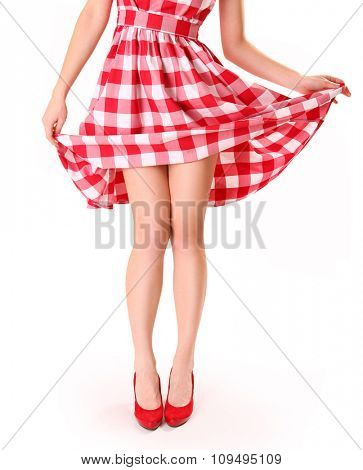 beautiful young woman wearing red shoes
