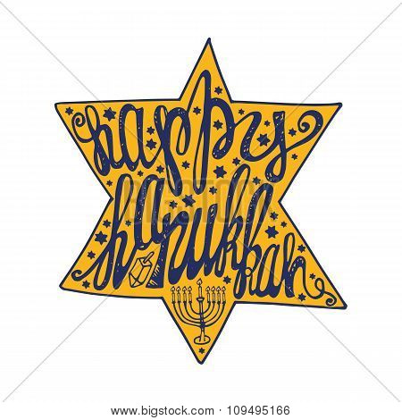Happy Hanukkah lettering in David Star shape.Colored
