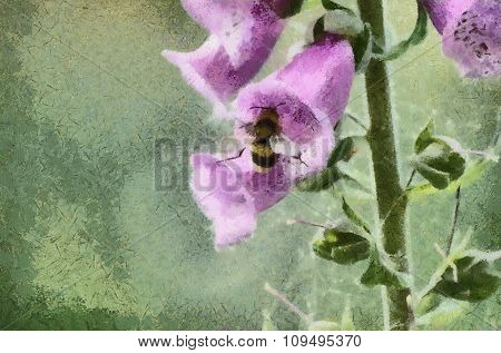 Abstract flower a foxglove with bee.