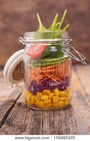 vegetarian salad in jar