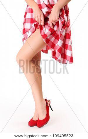 beautiful young woman wearing red shoes