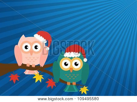 Two Owls On Maple Tree Wearing A Red Santa Claus Hat On Blue Sun Ray Background. Vector Illustration