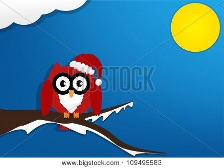 Red Owl On Maple Tree With Wearing A Red Santa Claus Hat In Night With Moon On Blue Background. Vect