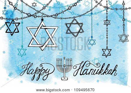 Happy Hanukkah.David Star garlands.Watercolor splash