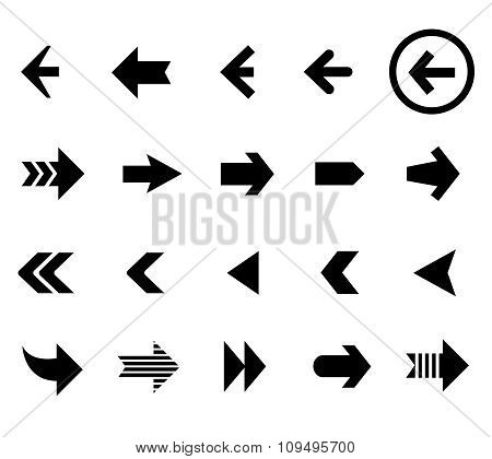 Back and next arrow icons vector set