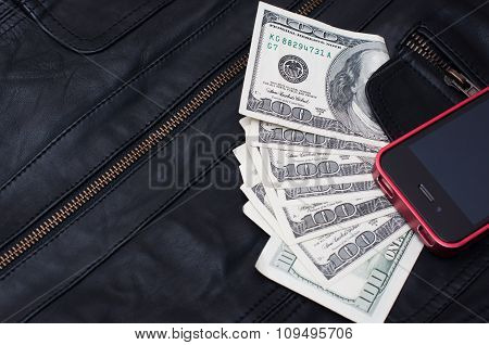 Money And Phone Near The Pocket Leather Jacket