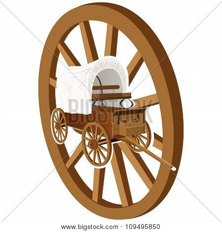 Wooden wheel and wagon
