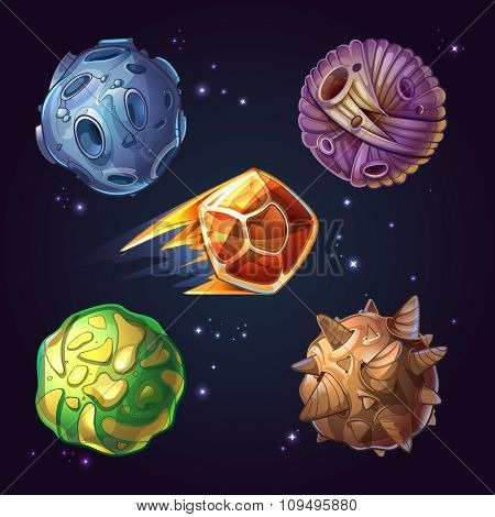 Fantastic planets, moons, asteroid sci-fi starry space background. Vector illustration in cartoon co