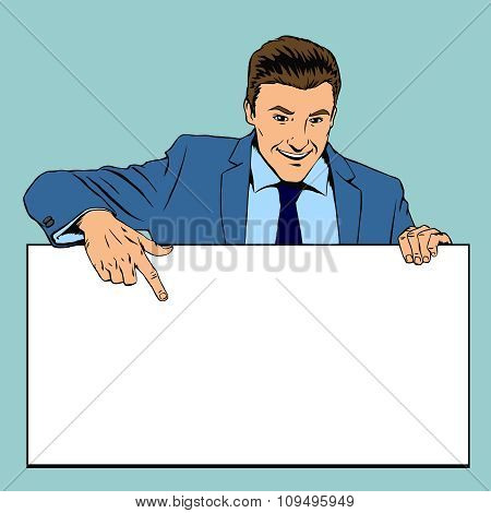 Man holding advertising empty banner. Vector illustration in retro pop-art style