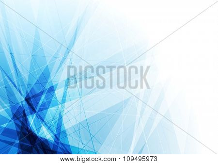 Bright blue geometric shapes tech background. Vector design