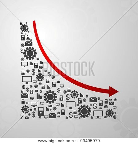 Abstract decline graph arrow with communication icons. Vector design