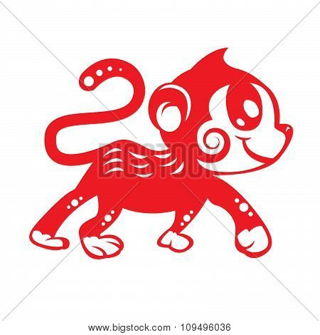 Red paper cut Cute monkey zodiac symbol (kids monkey)