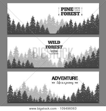 Pine forest horizontal banner vector set
