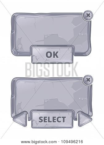 Vector stone panels for game UI in cartoon style