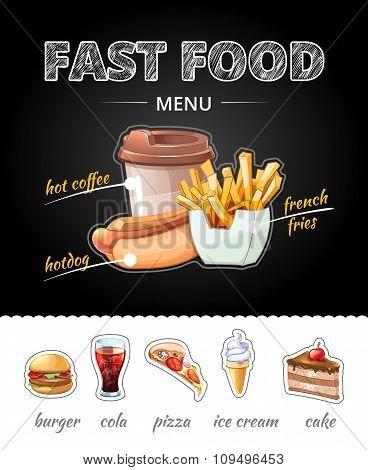 Fastfood advertising on chalkboard. Vector illustration