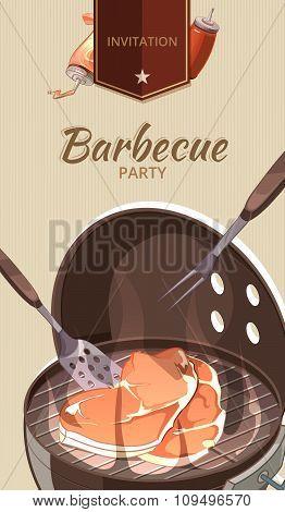 Barbecue BBQ party invitation vector template