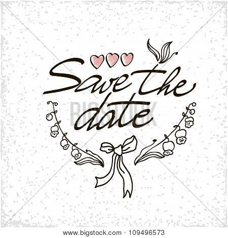 Save The Date Hand Lettering Vector Handmade Calligraphy.