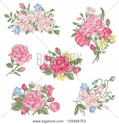 Set Of Vector Floral Design Elements.