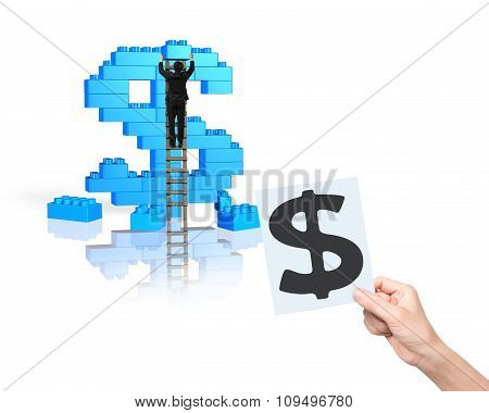 Businessman Climbing Ladder Building Stack Blocks In Dollar Sign Shape