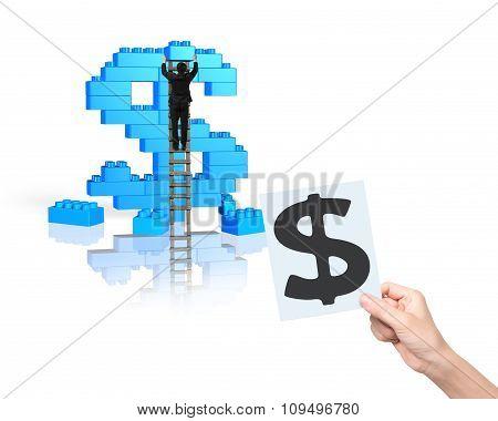 Businessman Climbing Ladder Building Stack Blocks In Dollar Sign Shape