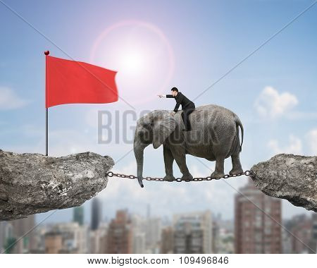Businessman With Pointing Finger Riding Elephant Toward Red Flag