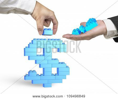 One Hand Holding Stack Blocks The Other Completing Dollar Sign