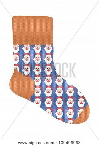 Sock With The Image Of Santa Claus