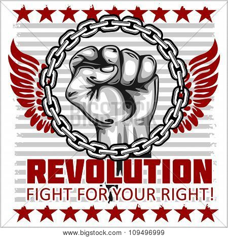 Fist of revolution. Human hand up. Fight for your right.