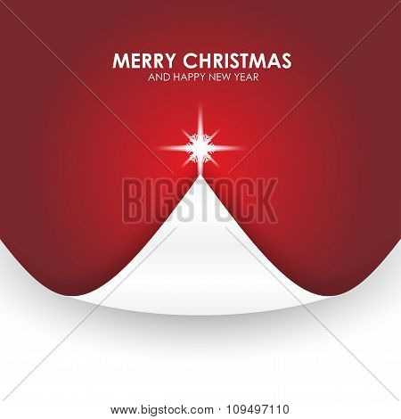 Christmas Background With Christmas Tree Paper Flap Red