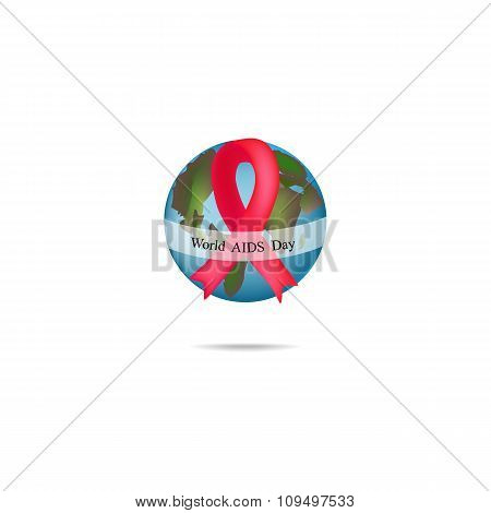World AIDS Day. Globe with red ribbon. Vector illustration