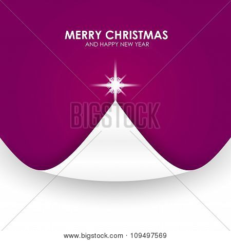 Christmas Background With Christmas Tree Paper Flap Violet
