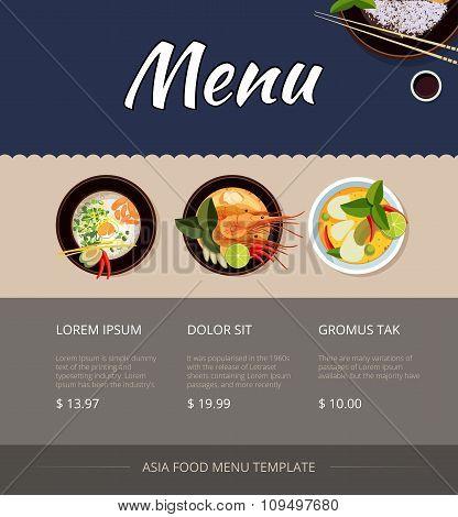 Thai food menu vector template design