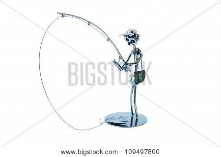 Metal Figurine Of A Fisherman