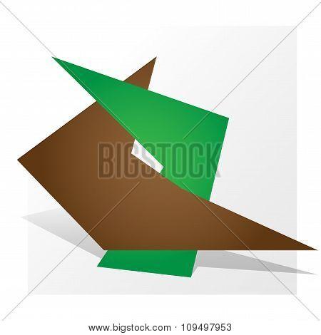 Dual Symbol Logo Parthnership Paper Design Green Brown