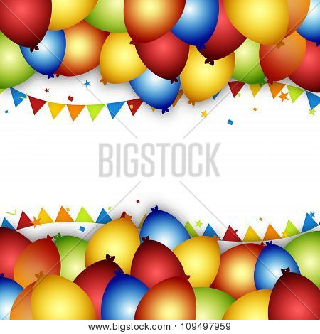Balloon celebration background with flags, confetti and flags.