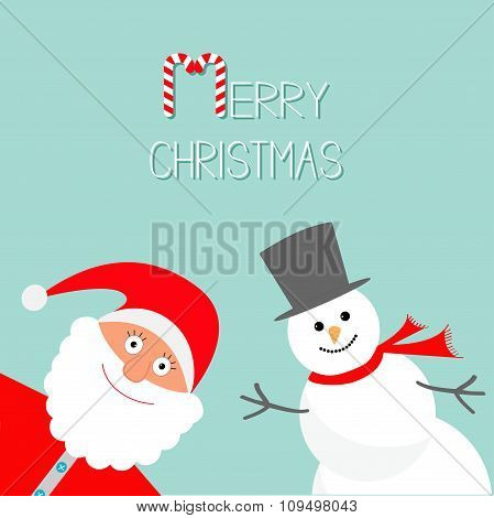 Cartoon Snowman And Santa Claus. Blue Background. Candy Cane. Merry Christmas Card. Flat Design