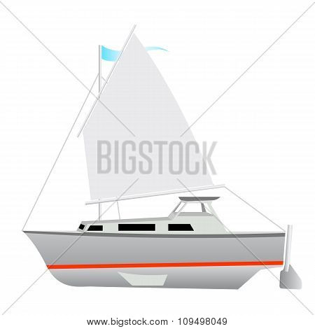 Sailing boat floating. Vector illustration.