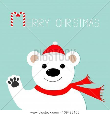 White Polar Bear In Santa Claus Hat And Scarf, Paw. Candy Cane. Merry Christmas Greeting Card. Blue